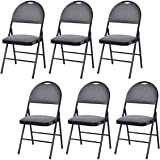 Giantex Set of 6 Folding Chairs Fabric Upholstered Padded Seat Metal Frame Home Office (Grey)