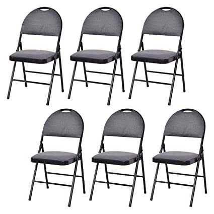 Giantex Set Of 6 Folding Chairs Fabric Upholstered Padded Seat Metal Frame  Home Office (Grey