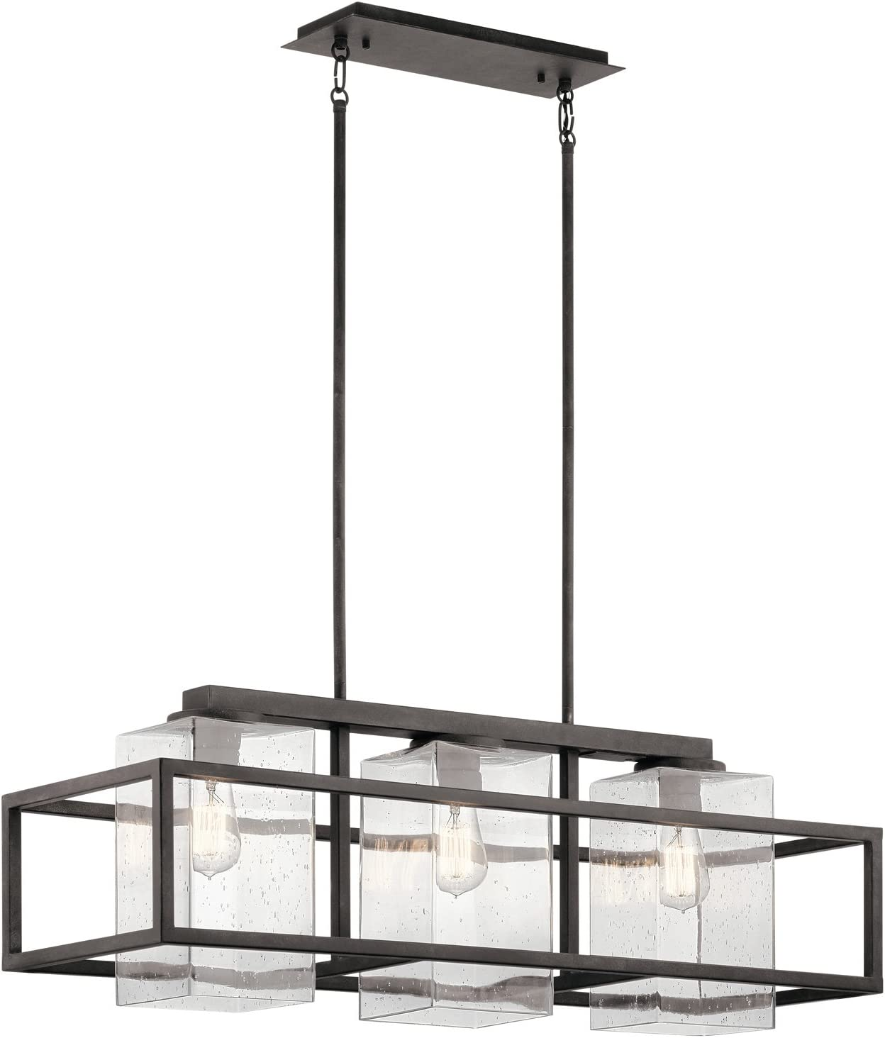Kichler 49805WZC Wright 3-Light Outdoor Linear Chandelier in Weathered Zinc, 36