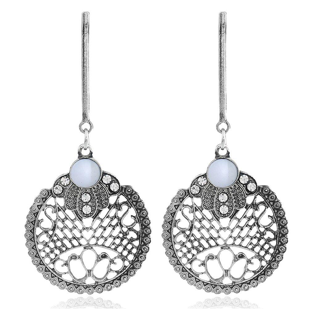 Ancient Silver Plated Filigree Flower Leaves Dangle Earring Bohemian Style Women Fashion by Mrsrui