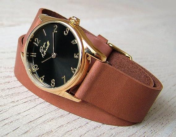 7555bc9e9 Amazon.com: Sergio Montell Women's Brown Leather Wrap Strap Watch - Gold  Tone Black Face - Leather Womens Wrist Watch with Leather Wrap-Around Band,  ...