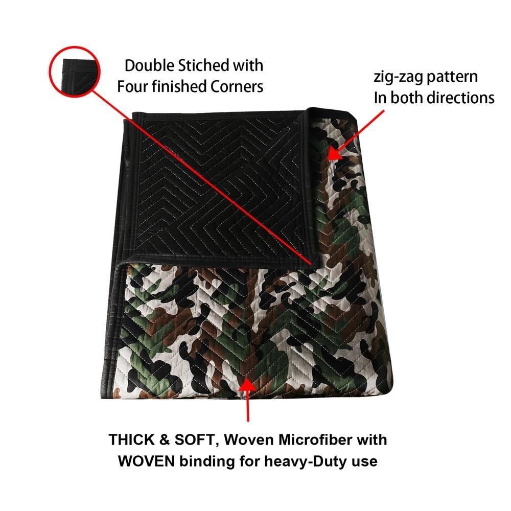 SOMIDE Luxury Camouflage Moving Blankets, Ultra Thick, Double Batting, Colorfast, 72'' x 80'', 5.8 Lbs/pc, Multi-Porpose for Pet Supplies, Sound Barrier, Hunting and Outdoor. by SOMIDE (Image #3)
