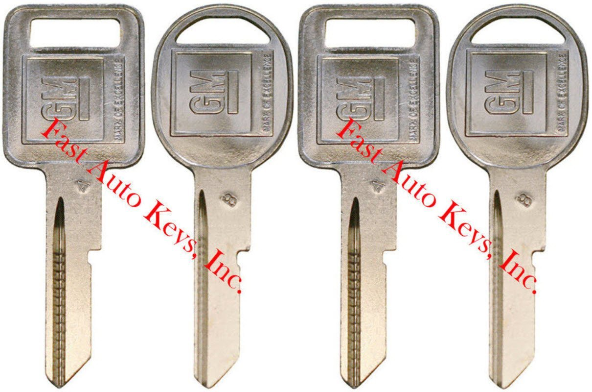 4 NEW GM Logo OEM 'A' IGNITION +'B' DOORS/TRUNK Key Blanks Uncut 320588 + 320589 Strattec P1098A B48 01154610 B49 01154611 S1098B