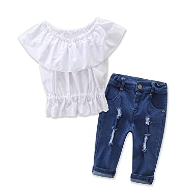 1c8ae7f314d SHOBDW Girls Clothing Sets, Toddler Baby Fashion Off Shoulder Solid T-Shirt  Top + Hole Jeans Pants Summer Outfit Clothes: Amazon.co.uk: Clothing