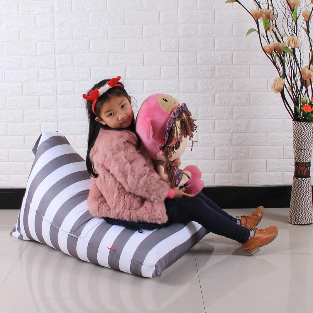 DDLBiz Kids Stuffed Animal Plush Toy Storage Bean Bag Chair Soft Pouch Stripe Fabric Chair (E)