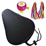 Hoobbii Bike Accessories for Kids, Contain Child Bike Gel Seat Cushion、Kids Bike Bell and Kids Bike Streamers, Suitable for Children's Bicycles up to 16 inches.