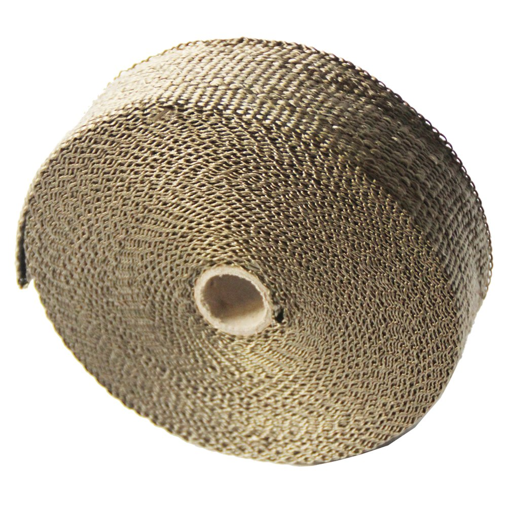 LEDAUT 2x 25 Titanium Exhaust Header Wrap for Motorcycle Exhaust Tape With Stainless Ties