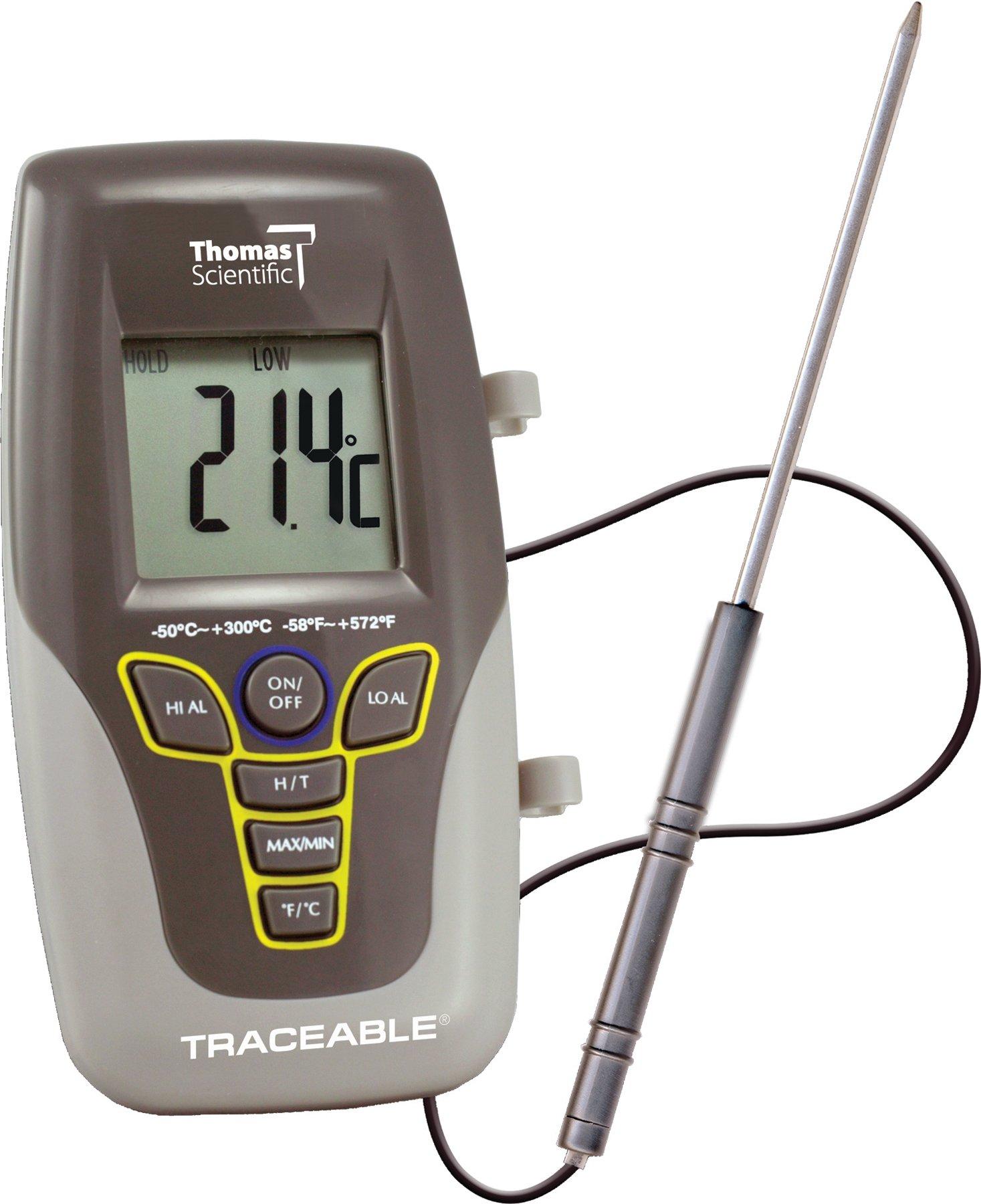 Thomas Traceable Kangaroo Thermometer, 7.5'' Probe Length, -58 to 572 degree F, -50 to 300 degree C by Thomas