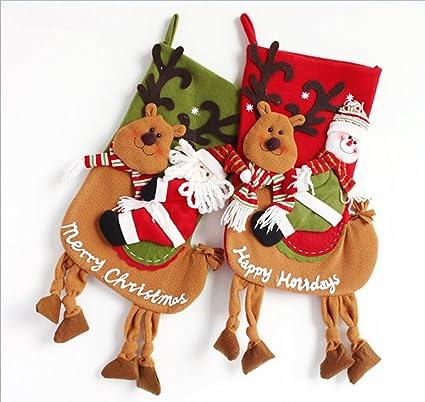 Set de 2 medias de Navidad dibujos animados arte belleza interior decoración de regalo de Navidad