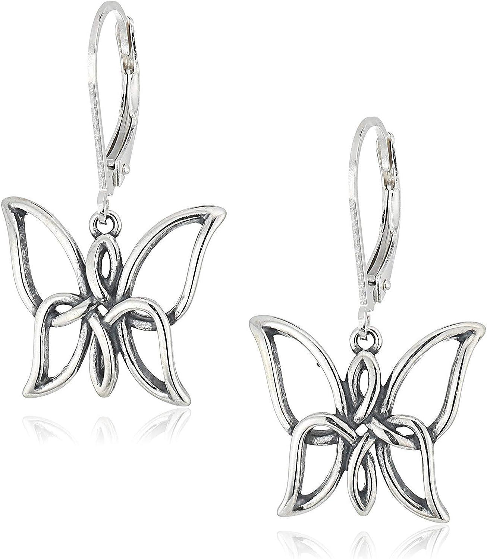 925 Sterling Silver Oxidized Celtic Knot Butterfly Drop Earrings