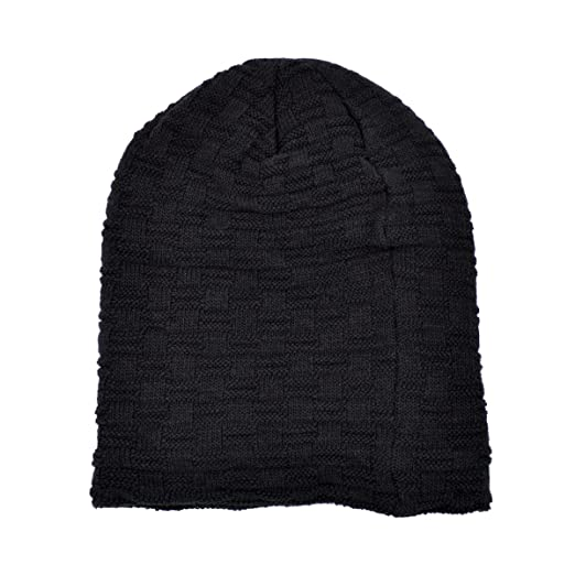 1f93c0f18 IvyFlair Dual Layer Checker Knit Soft Fleece Lined Slouchy Beanie ...
