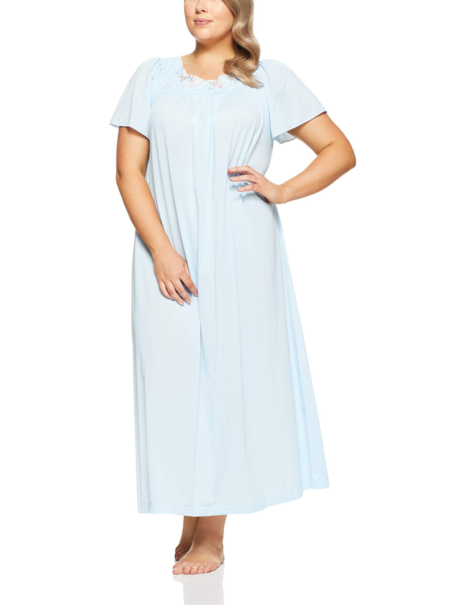 Shadowline Women's Plus Size Petals 53'' Short Flutter Sleeve Long Gown, Blue, 1X by Shadowline
