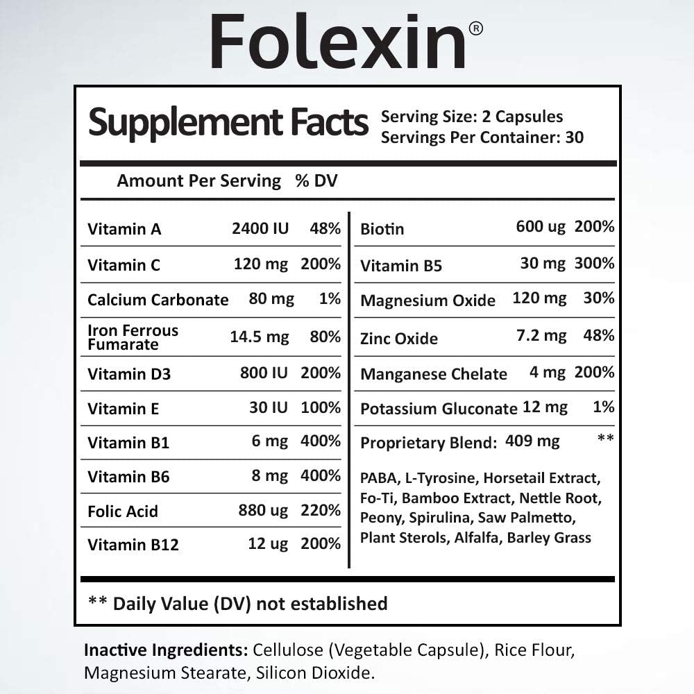 Folexin hair growth supplement facts nutrition label