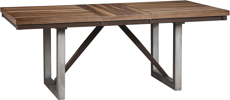 Coaster Dining Table, Natural Walnut/Espresso
