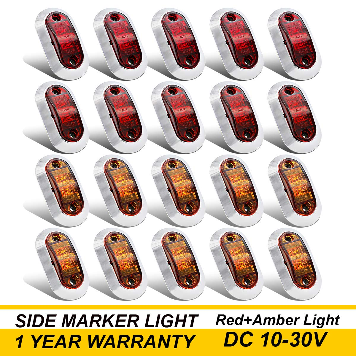 10 Pcs Amber Pce Red Tmh 25 Inch Surface Mount Led Trailer Clearance Side Marker Light With Reflector 2 Wire Markers Lights