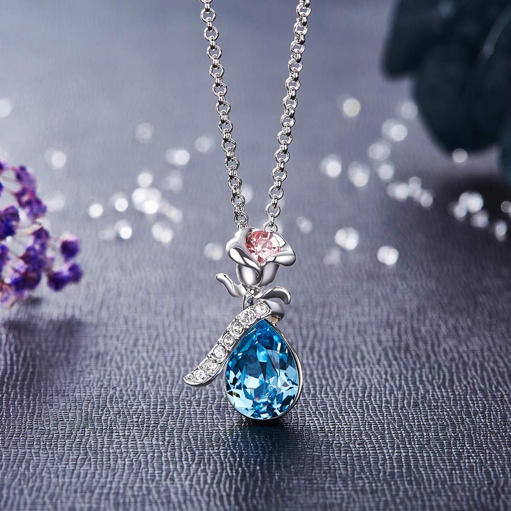 CDE Necklace Swarovski Crystal Pendant Necklaces Blue Jewelry Women