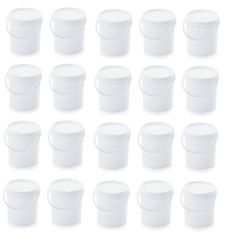 20x Eimer 1,0l mit Deckel 1 Liter Kunststoffeimer 20er Set lebensmittelecht wei/ß mit Kunststoffb/ügel 1,18l