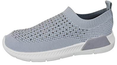 Ladies Womens Comfy Fitness Flat Knitted Sock Sports Running Trainers Shoes UK
