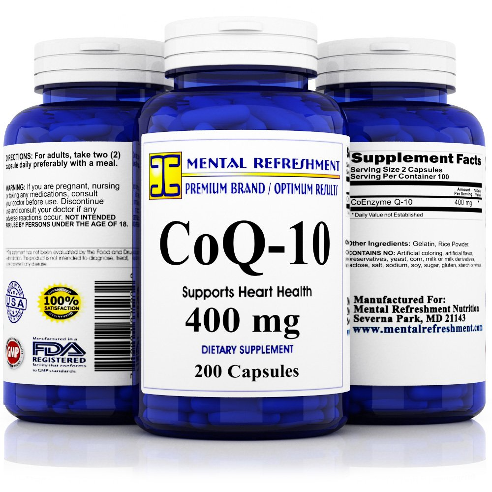 Pure CoQ10 400Mg per serving - Max Strength - 200 Capsules - High Absorption Coenzyme Q10 Ubiquinone Supplement Pills, Extra Antioxidant for Healthy Blood Pressure & Heart by Mental Refreshment Nutrition