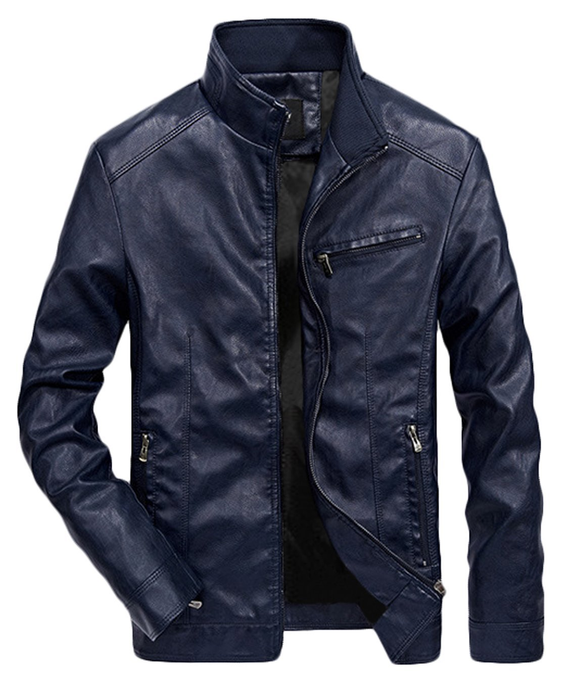 WULFUL Men's Stand Collar Leather Jacket Motorcyle Lightweight Faux Leather Outwear Navy-XL by WULFUL