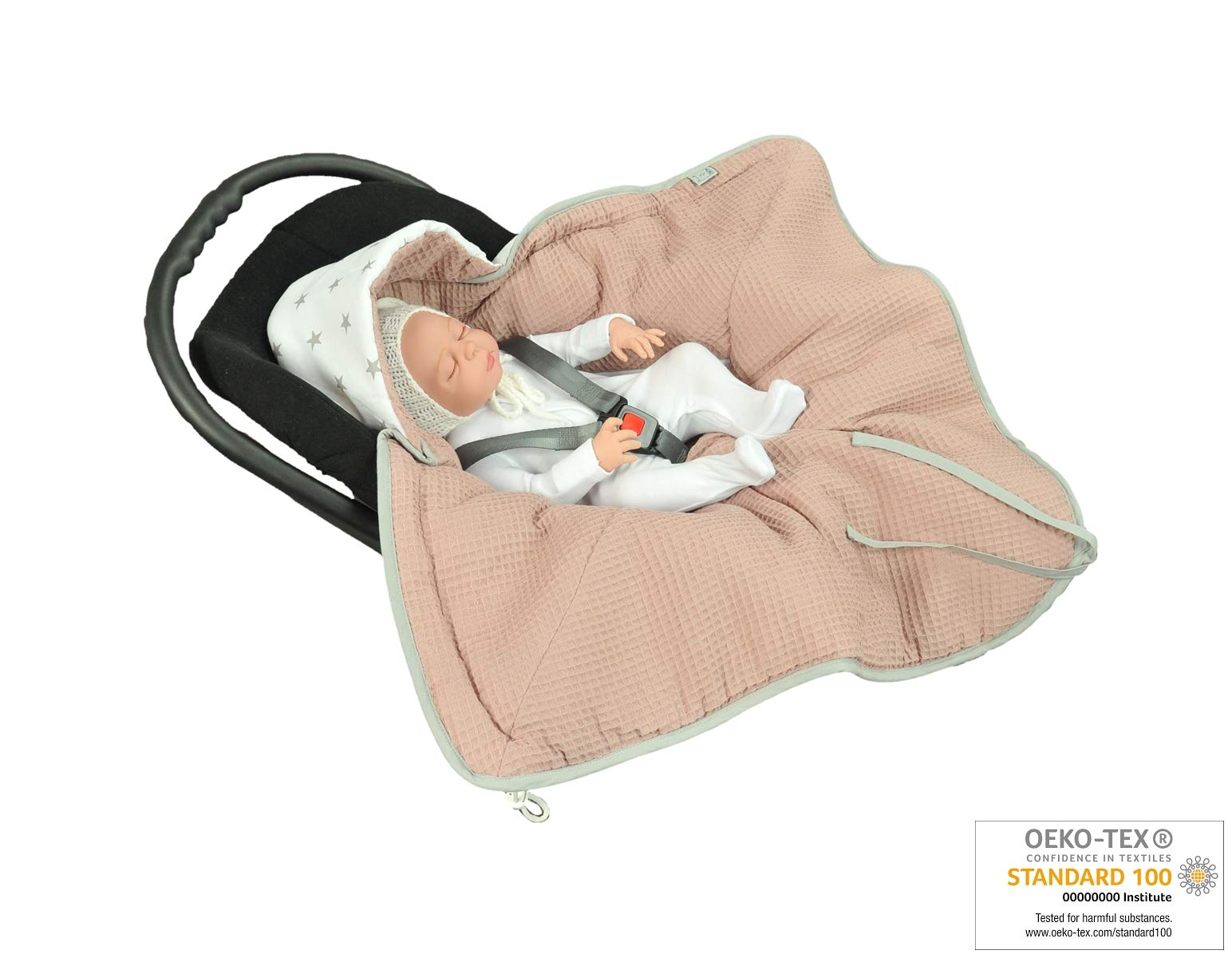 MoMika Swaddling Blanket | Bunting Bag I Universal Fit for Car Seat | Stroller | Buggy or Baby Bed| 100% Cotton (Light Brown-Stars)