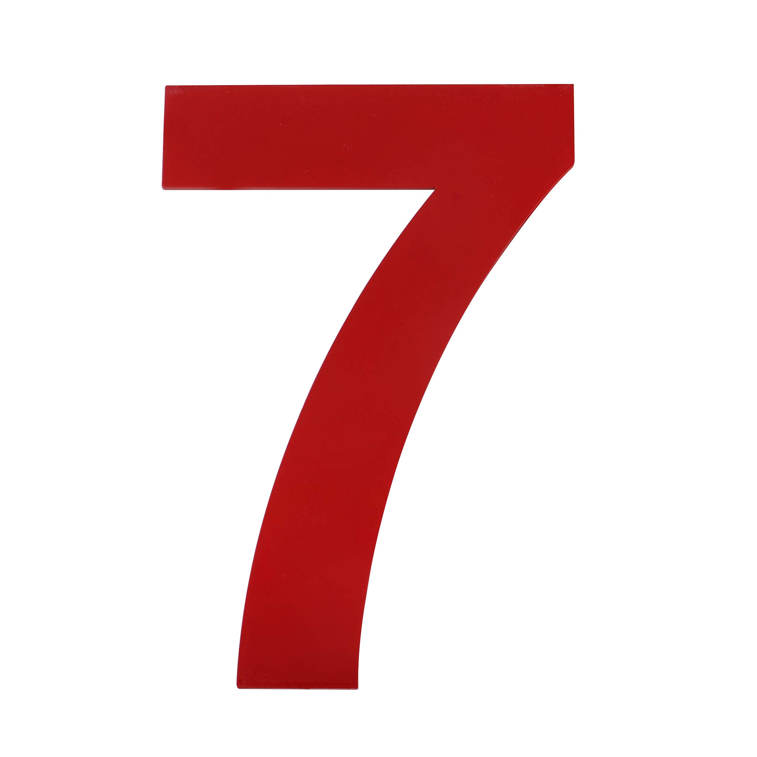 QT Modern House Number - 6 Inch RED - Stainless Steel (Number 7 Seven), Floating Appearance, Easy to Install and Made of Solid 304 Stainless Steel
