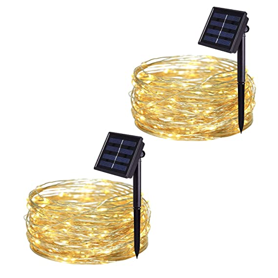 JMEXSUSS 2 Pack 8 Modes 100 LED 32.8ft Solar Powered Waterproof Fairy String Copper Wire Lights for Christmas, Bedroom, Patio, Wedding, Party, (Warm White)