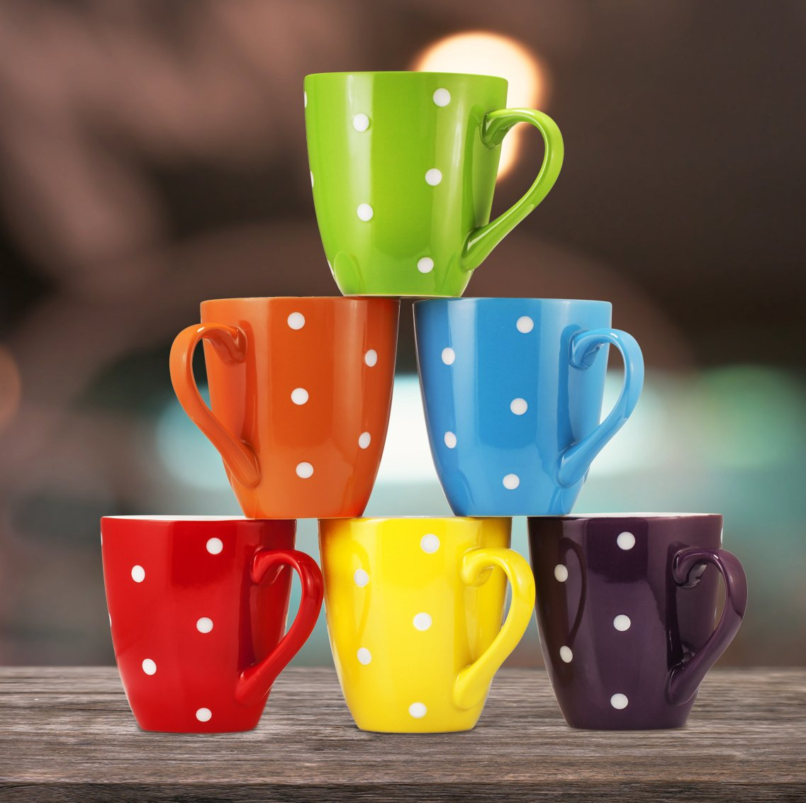 Coffee Mug Set Set of 6 Large-sized 16 Ounce Ceramic Coffee Mugs Restaurant Coffee Mugs By Bruntmor (Polka Dot) by Bruntmor (Image #9)