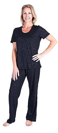 7569b5a7cd Cool-jams Moisture Wicking Scoop Neck Pajama Set - Embossed Print (Small (4