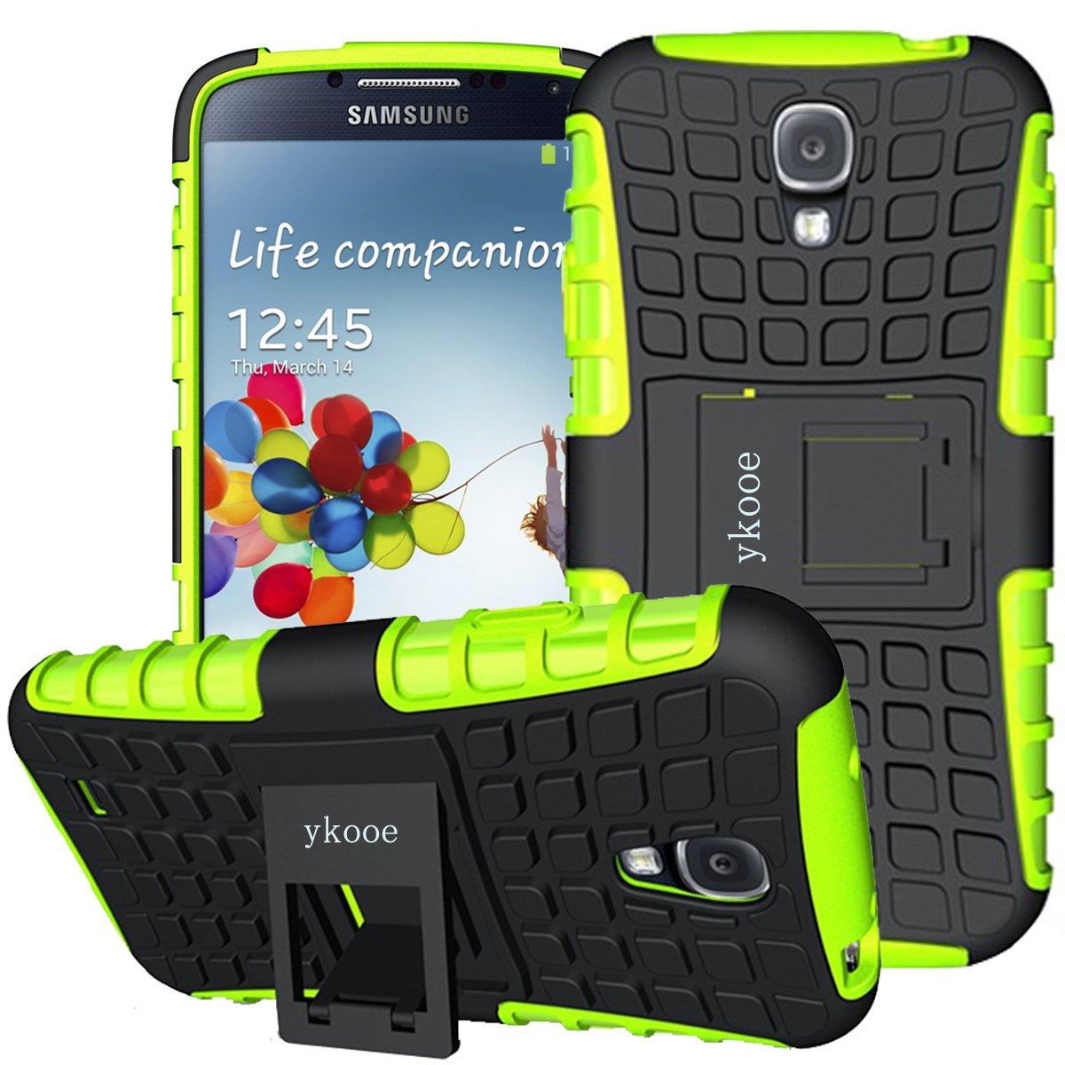 サムスン Galaxy S4ケース 衝撃吸収携帯電話保護ケース 2重保護 キックスタンドシェル  グリーン B072LQLWKB