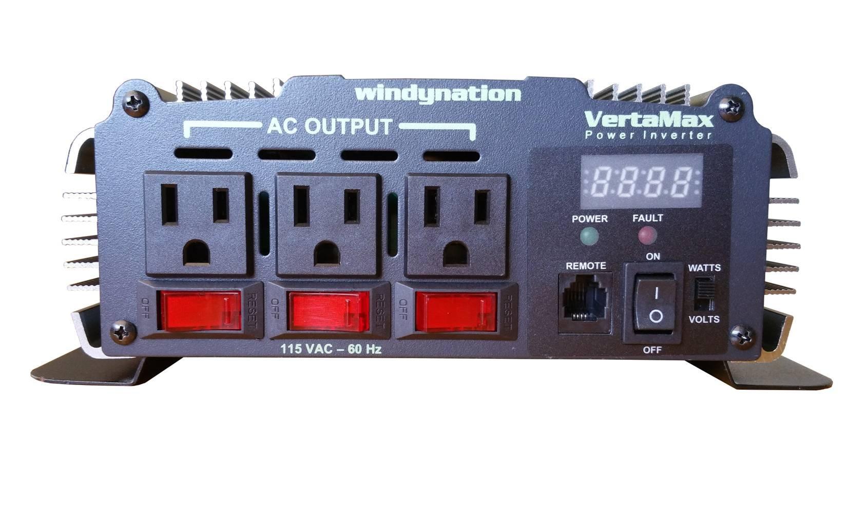 VertaMax PURE SINE WAVE 1500 Watt (3000W Surge) 12V Power Inverter DC to 115 AC Car, Solar, Off-Grid, RV, Back Up Power by WindyNation (Image #2)