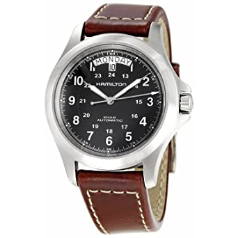 91db20f5012 Hamilton Khaki King Series Men Automatic Watch with Black Dial Analogue  Display and Brown Leather Strap H64455533  Amazon.co.uk  Watches