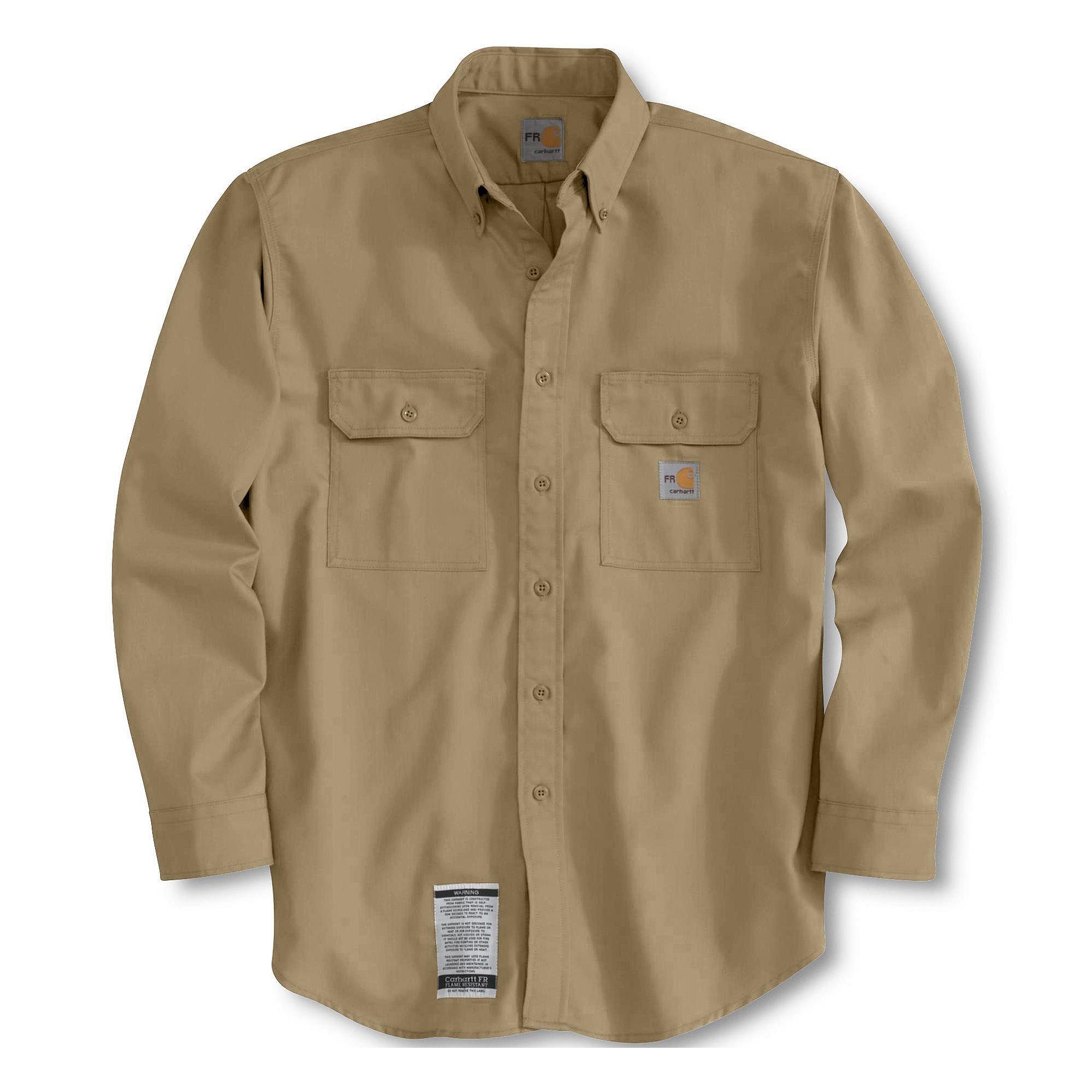Carhartt Flame-resistant Twill Shirt, KHAKI, MED.TALL