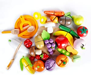 RUYU Wooden Cutting Food - Play Food Set with 28+ Hand-Painted Pieces, Knife, Fork, Spoon ,Cutting Board and Storage Sack, Self-Stick Tabs ,Pretend Food Play Kitchen Toys for Toddlers, Boys & Girls