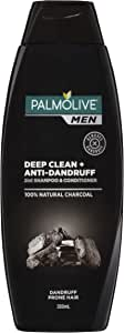 Palmolive Men 2 in 1 Hair Shampoo and Conditioner Deep Clean and Anti Dandruff Natural Charcoal, 350mL