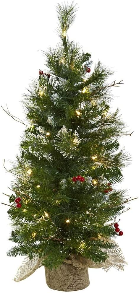 Nearly Natural 5442 Christmas Tree with Clear Lights Berries and Burlap Bag, 3-Feet, Green