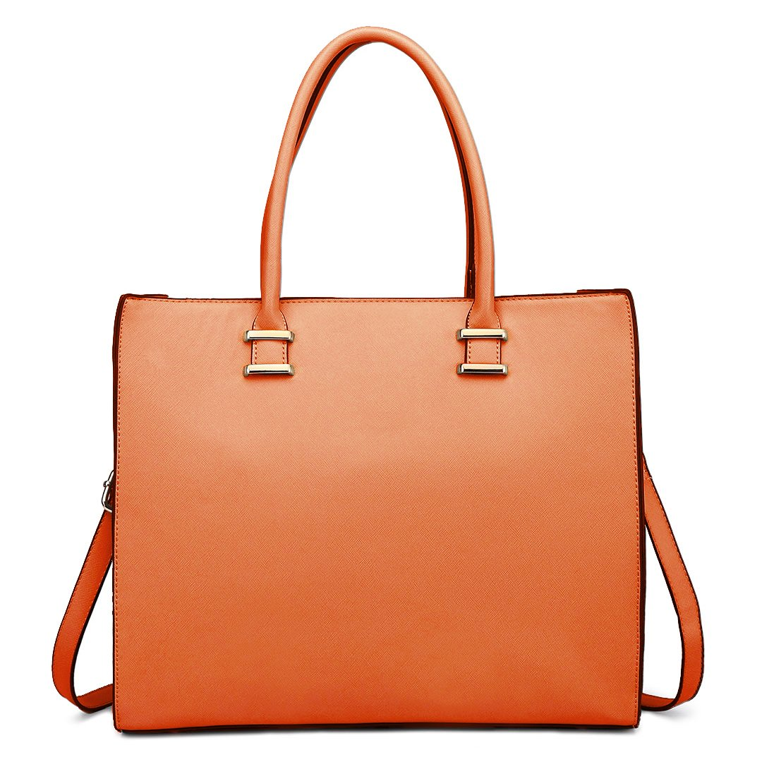 22af20c2d366 Miss Lulu Women Adjustable Designer Shoulder Handbags Ladies A4 Size Laptop  Large Faux Leather Tote Bags (1509 Coral)  Amazon.co.uk  Shoes   Bags