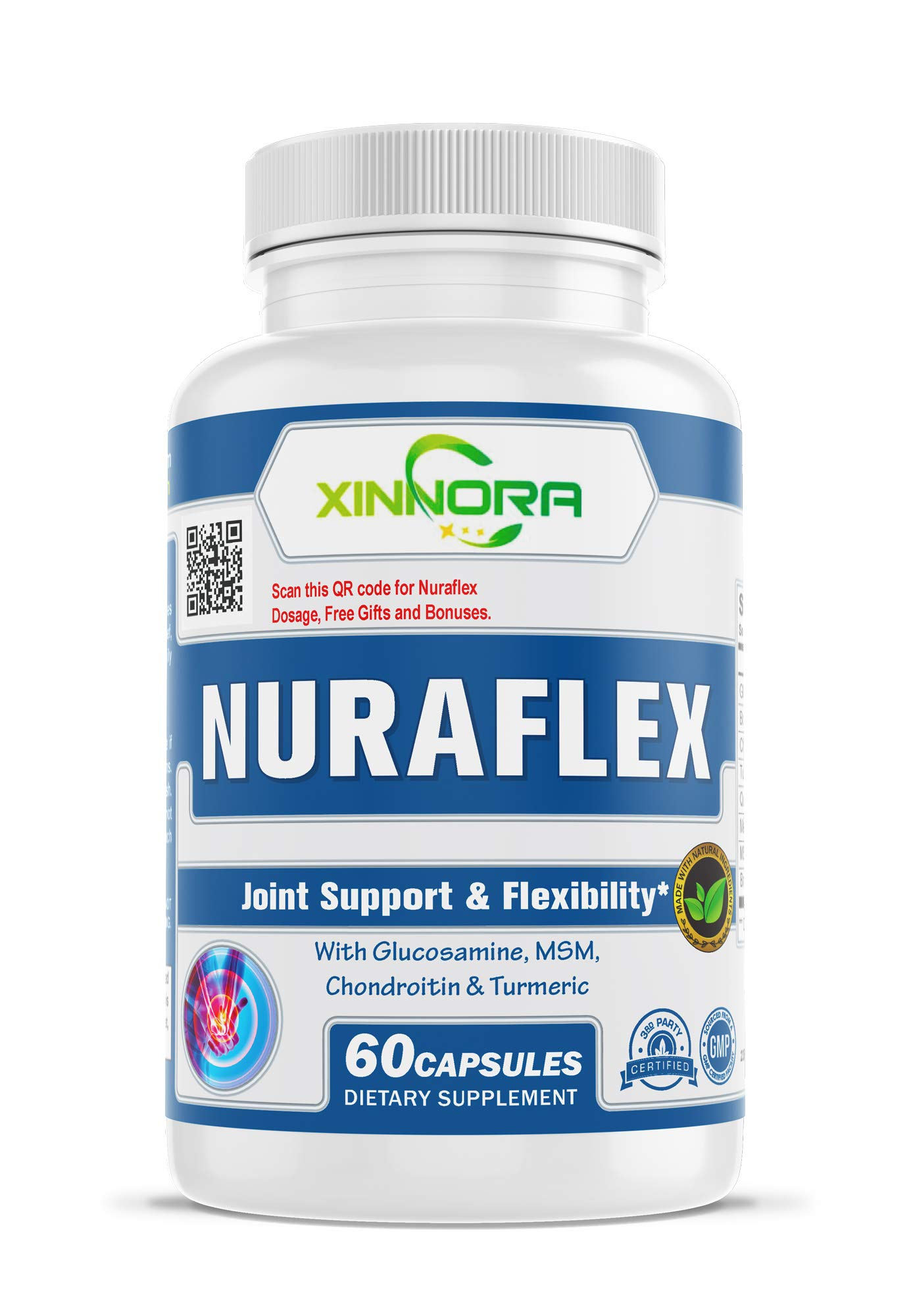 XINNORA Nuraflex - Glucosamine with Chondroitin Turmeric MSM Boswellia - Joint Support & Flexibility Supplement - Anti-Inflammatory & Antioxidant Pills for Your Back, Knees, Hands 60 Caps x 10 BTLs by Xinnora (Image #2)