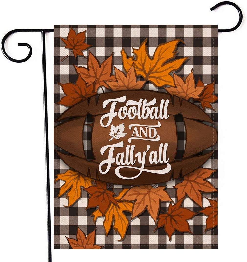 Artofy Football and Fall Y'all Plaid Garden Flag, Welcome Autumn Home Decorative House Yard Outside Small Flag Buffalo Check Maples Seasonal Decor, Thanksgiving Farmhouse Outdoor Decorations 12 x 18