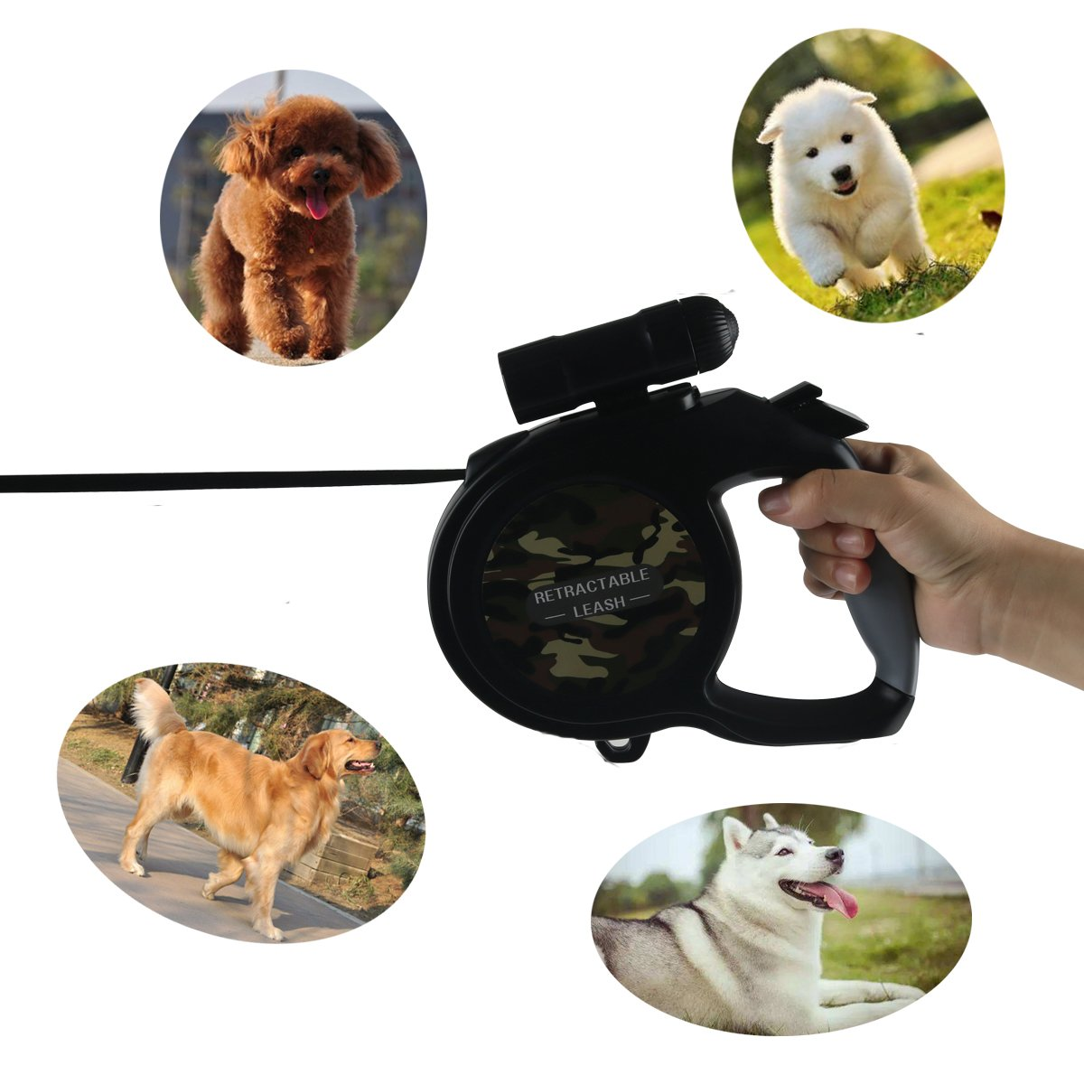 RCRuning-EU Flexi Correa para Perros Retráctil 8m, Correa Perro Extensible with Led Light,Dog Lead for Large Medium Small Pet Dogs Night Walking (Camouflage ...