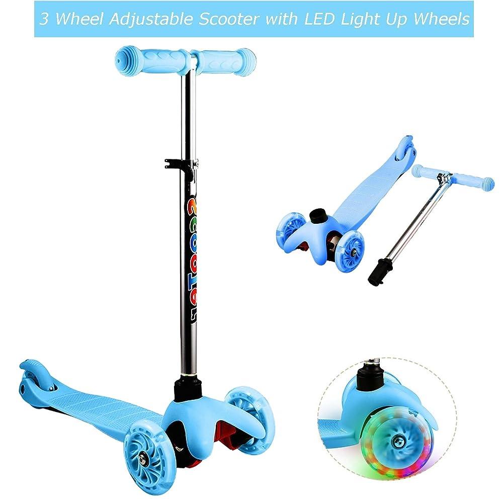 Mewalker LED Light Up Wheels Foldable 4 Levels Mini Adjustable Height Push 3 Wheel Kids Kick Scooter for Toddler Girls Boys 3-12 Years (US STOCK)