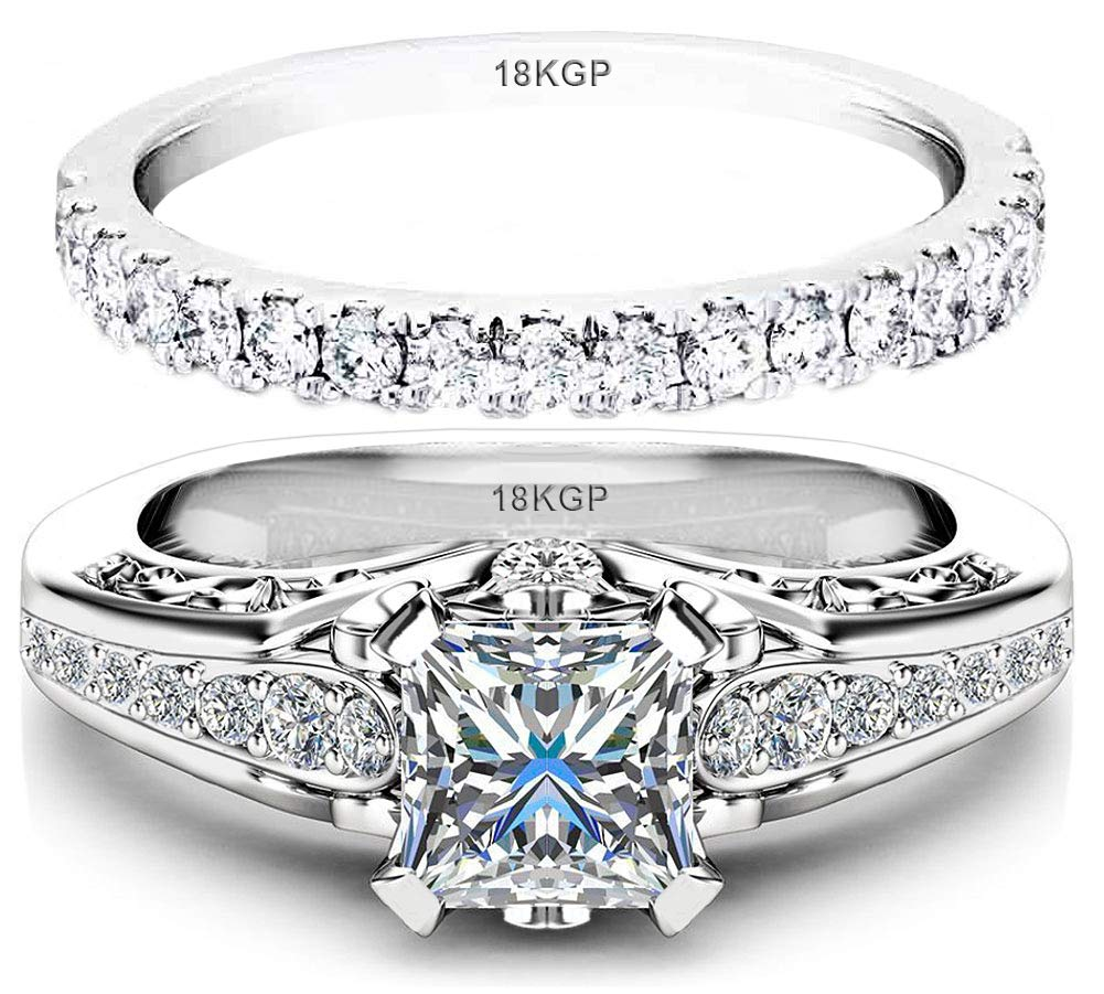 AndreAngel Wedding Rings Set Engagement 2 pcs Women White Gold Plated 18K 3 Microns Thickness / 6 mm 0.75 Carat Princess Cubic Zirconia 5A+ Solitaire Bridal Marriage Promise Proposal (9)