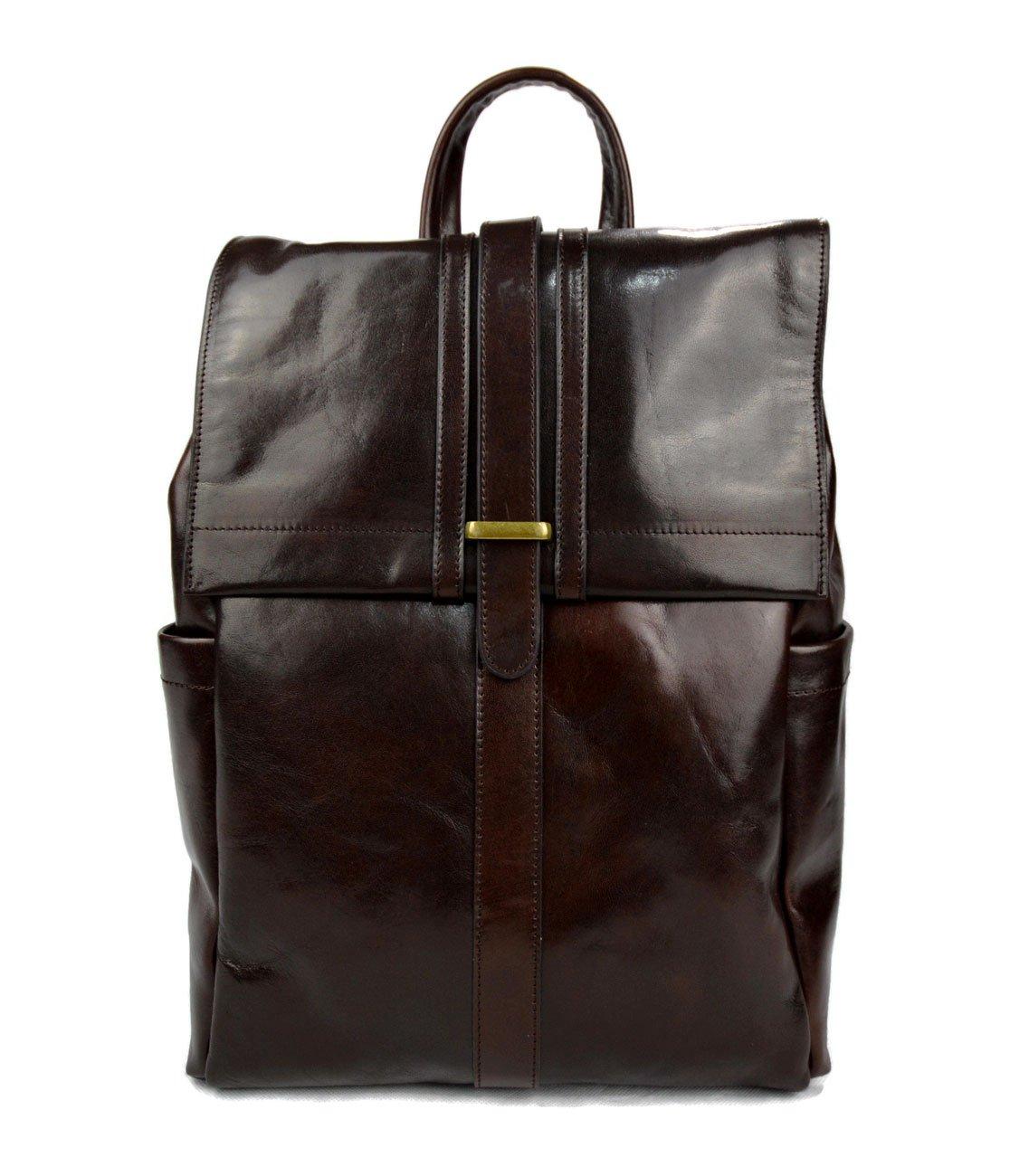 Leather dark brown backpack genuine leather travel bag weekender sports bag gym bag leather shoulder ladies mens satchel light backpack