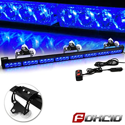 FOXCID 32 LED Emergency Warning Traffic Advisor 13 Modes Vehicle LED Strobe Light Bar with Large Suction Cups and Cigarette Lighter Blue: Automotive