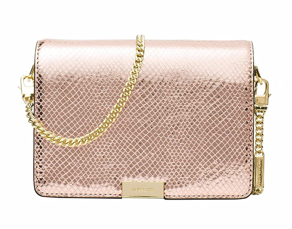 ce52feb160e MICHAEL MICHAEL KORS Jade Metallic Embossed Medium Leather Gusset Clutch,  Soft Pink: Handbags: Amazon.com