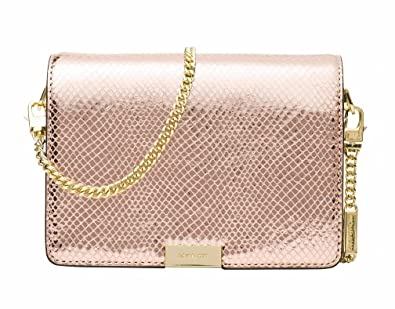 3202f64757e8 MICHAEL MICHAEL KORS Jade Metallic Embossed Medium Leather Gusset Clutch,  Soft Pink: Handbags: Amazon.com