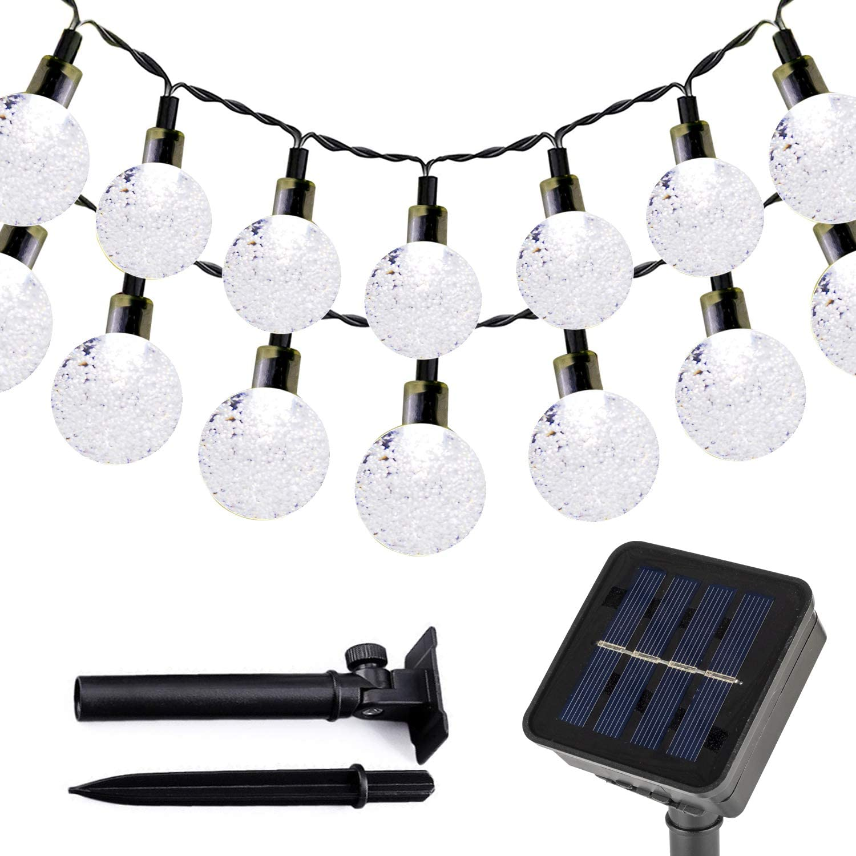T-SUN Solar String Lights Outdoor, 23FT 50 LED Solar Powered Globe Bulb Crystal Ball Fairy Light, Waterproof 2 Modes, Patio, Garden, Gazebo, Yard, Christmas Festival Decorative Lighting (Cold White)