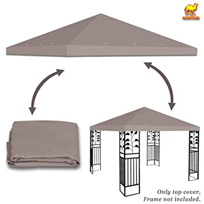 Stromg Camel 10' x 10' Canopy Top Cover Patio Pavilion Replacement Gazebo Top (Taupe): Garden & Outdoor
