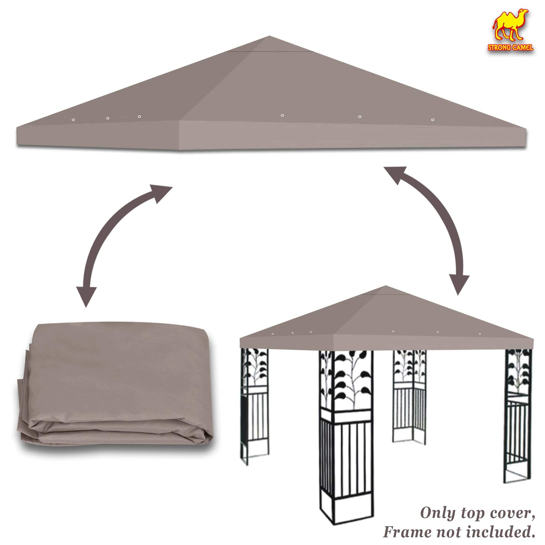 Stromg Camel 10' x 10' Canopy Top Cover Patio Pavilion Replacement Gazebo Top (Taupe)