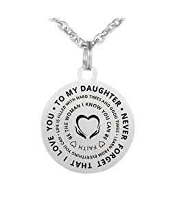 CraDiabh Family Friend to My Daughter Necklace Love Stainless Waterproof Chains Birthday Necklace Gift Daughter